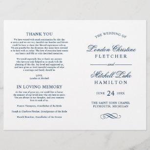 wedding ceremony programs navy