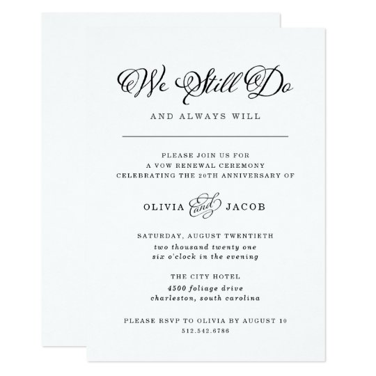 Wedding Charm Black And White Vow Renewal Invitation