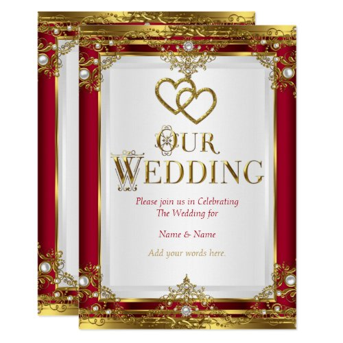 Wedding Elegant Red Gold White Golden Invitation