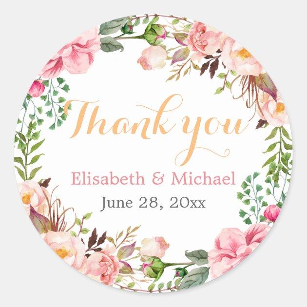 Wedding Favor Romantic Floral Decor Thank You Classic
