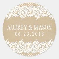 Wedding Favor Sticker | Lace and Kraft