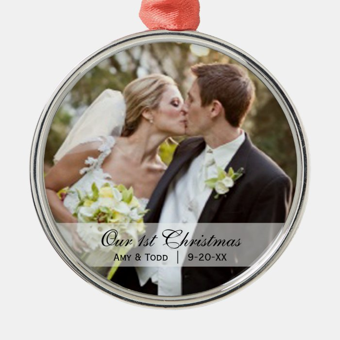 Wedding  First Christmas Photo Ornament  Zazzle