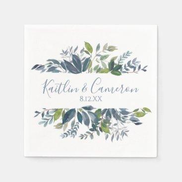 Wedding Greenery Napkins | Typography (Dusty Blue)