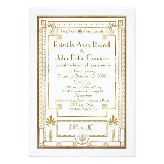 Wedding Invitation Card Great Gatsby White