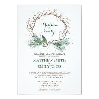Fl Wooden Wedding Invitation