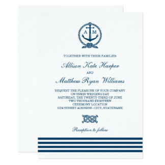 Nautical Themed Wedding Invitations And Garter With Rhinstones