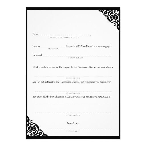 Personalized Wedding Mad Libs Invitations