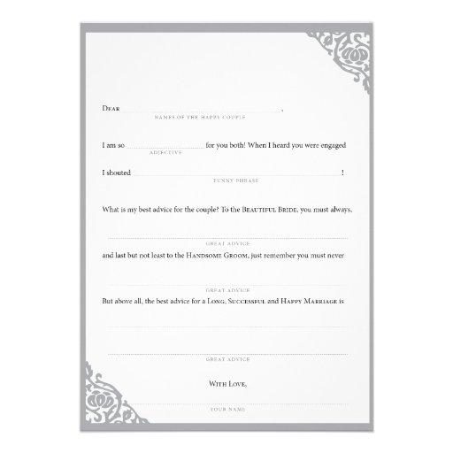 Personalized Wedding Mad Libs Invitations