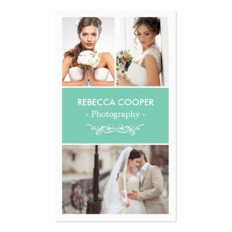 Wedding Photo Collage Elegant Clean Photography Double-Sided Standard Business Cards (Pack Of 100)