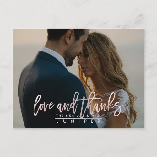 Wedding Photos Blush Love and Thanks Announcement Postcard