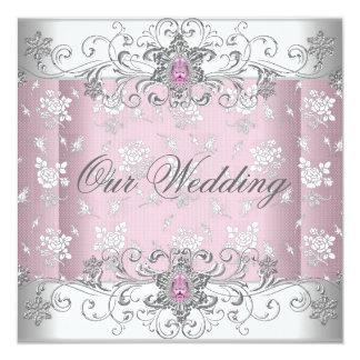 Wedding Pink Silver White Diamond Jewel Lace Card