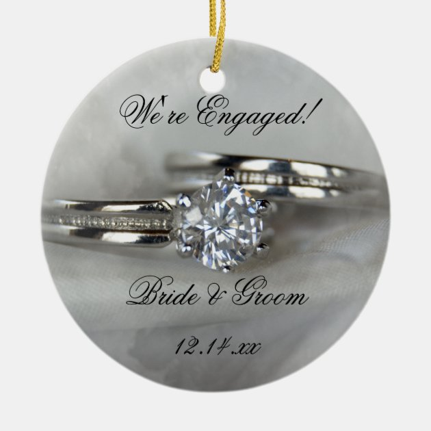 Wedding Rings On Gray Engagement Ceramic Ornament Zazzle