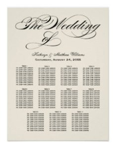 Wedding seating chart poster black calligraphy also charts zazzle rh