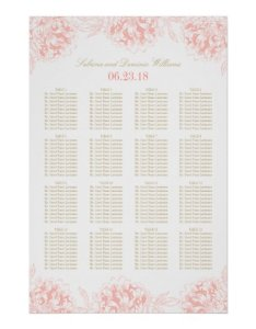 Wedding seating chart poster floral peony design also zazzle rh