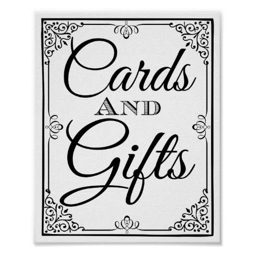 Wedding sign cards and gifts table poster  Zazzle