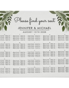 also whimsical calligraphy alphabetical seating chart zazzle rh