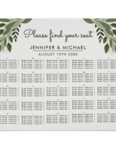Wedding sprigs alphabetical seating chart also charts zazzle rh