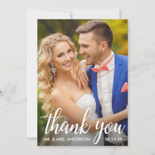 Wedding Thank You Bride and Groom Photo Card