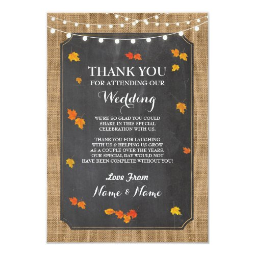 Wedding Thank You Card Card Engagement Fall Leaves