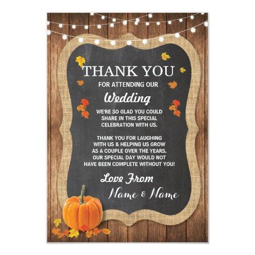 Wedding Thank You Card Engagement Pumpkin Chalk