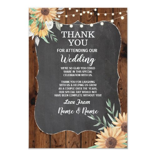 Wedding Thank You Card Engagement Sunflower Invite