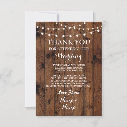 Wedding Thank You Card Engagement Wood Lights