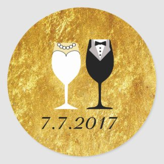 Wedding Toast Invitation Gold Seals Classic Round Sticker