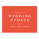 Wedding update change the date coral postcard