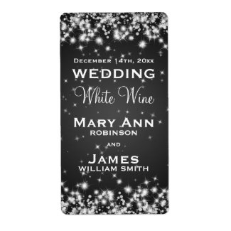 Wedding Wine Label Winter Sparkle Black Shipping Label