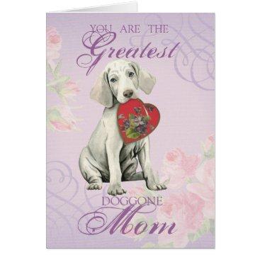 Weimaraner Heart Mom Card