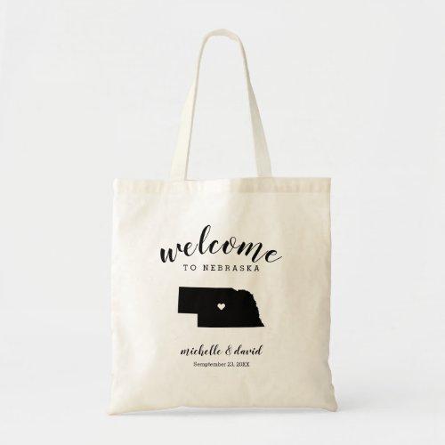Welcome to Nebraska | State Silhouette Wedding Tote Bag