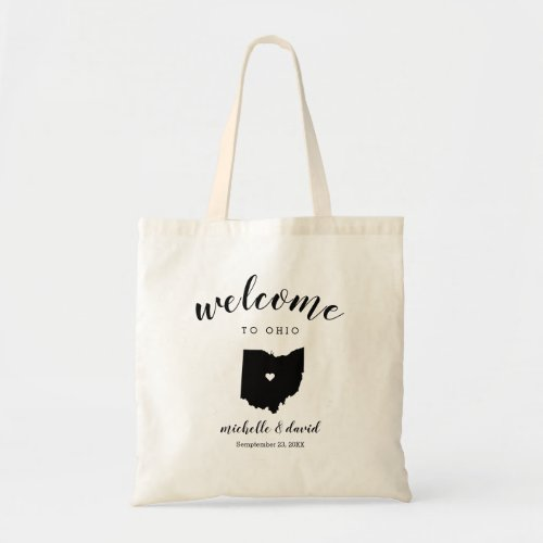 Welcome to OHIO | State Silhouette Wedding Tote Bag
