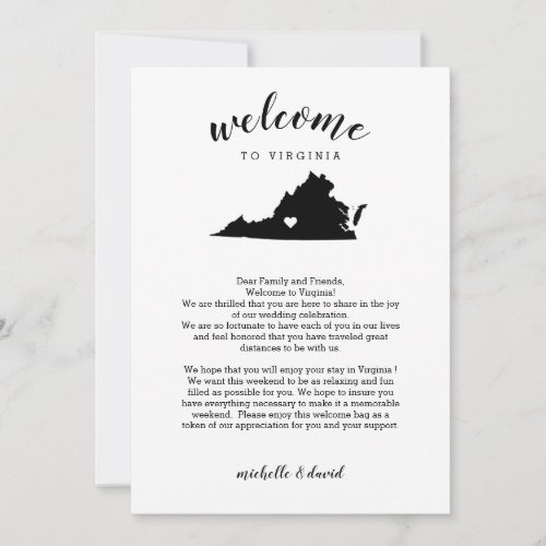 Welcome to Virginia  |  Wedding Letter & Itinerary