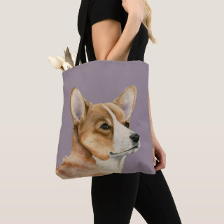 Welsh Corgi Dog Watercolor Painting Tote Bag