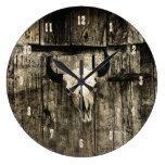 Western Bull Skull Vintage Brown Rustic Wood Barn Large Clock