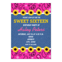 Western Country Sunflowers and Denim Pink Bandanna Card