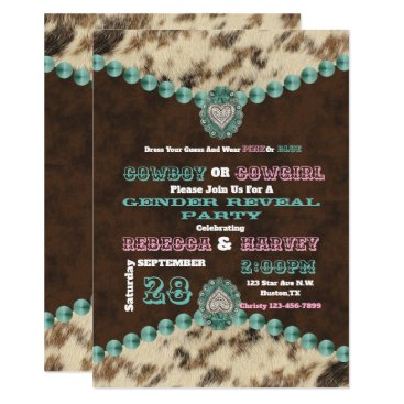 western cowboy or cowgirl gender reveal party card