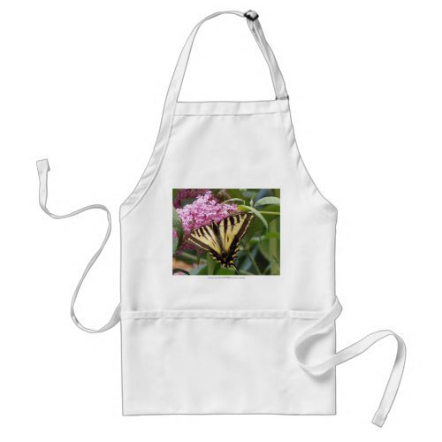 Western Tiger Swallowtail butterfly on pink lilacs apron