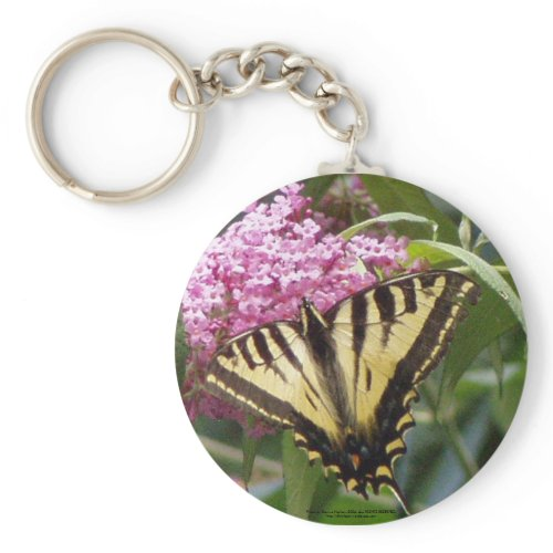 Western Tiger Swallowtail butterfly on pink lilacs keychain