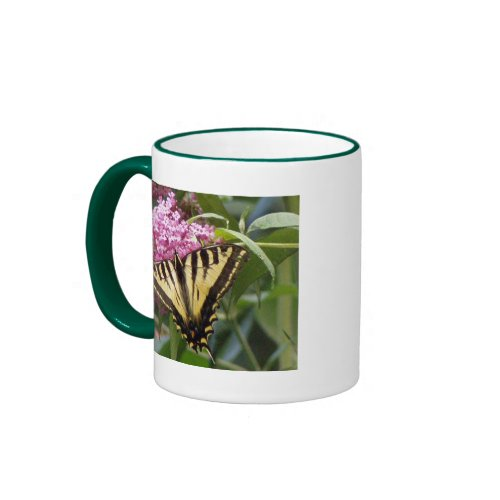 Western Tiger Swallowtail butterfly on pink lilacs mug