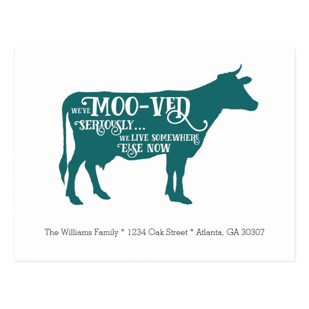 We've Moo Ved Funny Cow Moving Announcement Postcard