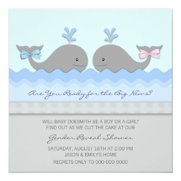 Whale Gender Reveal Baby Shower Card