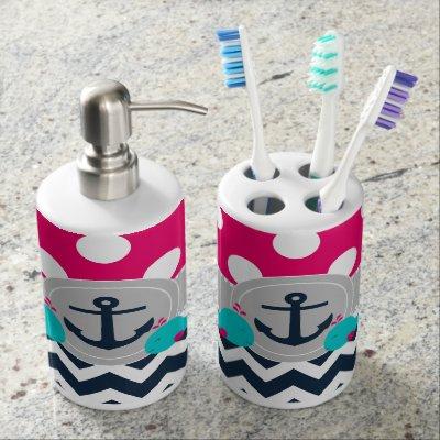 navy pink whale anchor bath set | zazzle