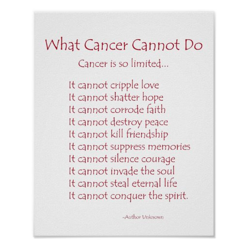 What cancer cannot do poem poster print zazzle