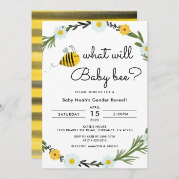 What Will Baby Bee Baby Shower Gender Reveal Invitation