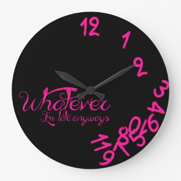 Whatever Clock - Hot Pink and Black Wall Clock