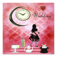 Whimsical Alice & Pink Flamingo Wedding Card