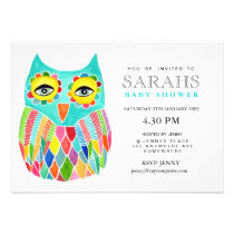 Whimsical Baby Shower Rainbow Owl Invite