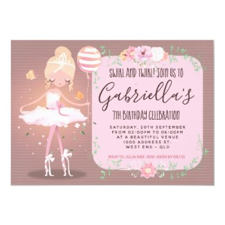 Whimsical Blond Ballerina Birthday Party Invitation