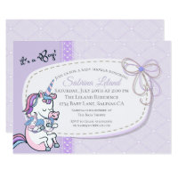 Whimsical Blue Boy Baby Unicorn Baby Shower Card